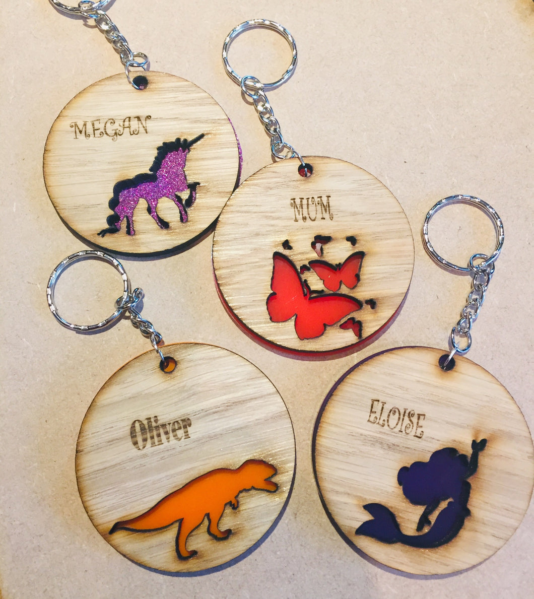Wooden  personalised bag tags - Laser LLama Designs Ltd