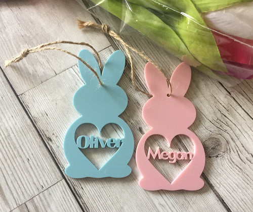 Acrylic personalised Bunny shape - Laser LLama Designs Ltd