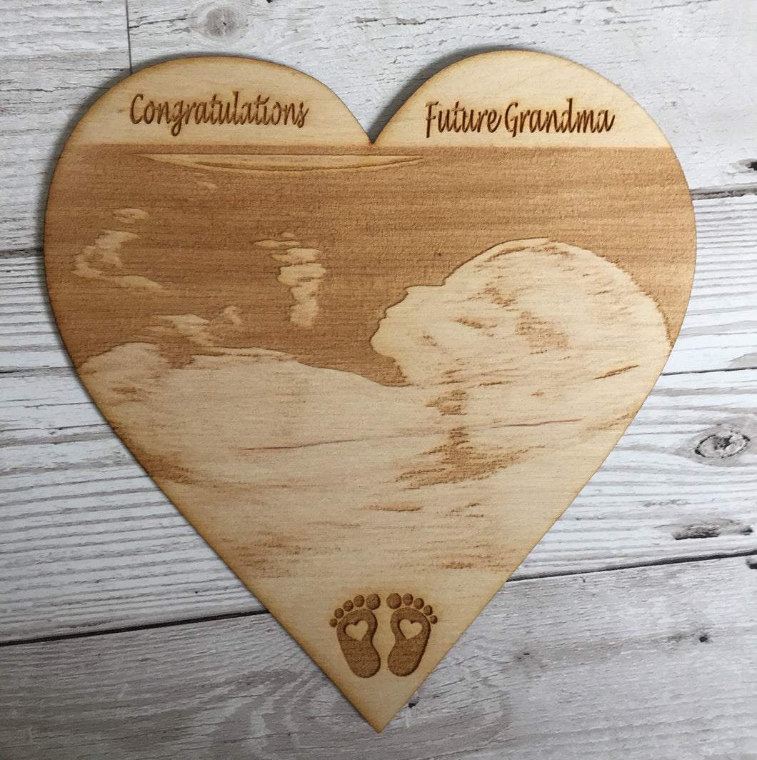 Wooden personalised baby photo scan plaque decoration - Laser LLama Designs Ltd