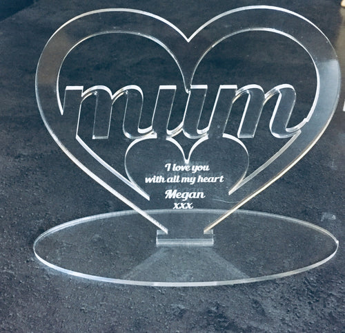 Freestanding acrylic heart mum dad nan -personalised - Laser LLama Designs Ltd