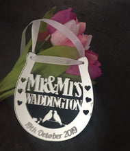 Load image into Gallery viewer, Mirrored acrylic personalised wedding horseshoe - Laser LLama Designs Ltd