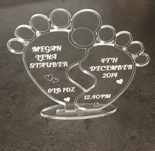Acrylic personalised babys feet decoration keepsake - Laser LLama Designs Ltd