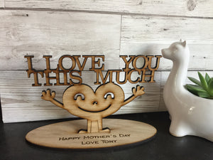 "Oak veneer personalised ""I love you this much"" decorations - Laser LLama Designs Ltd"