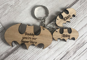 Oak veneer personalised keyring superhero - Laser LLama Designs Ltd