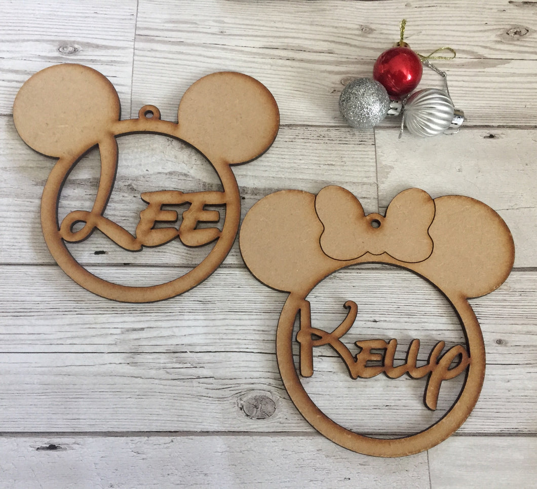 Personalised mouse ears bauble - Laser LLama Designs Ltd