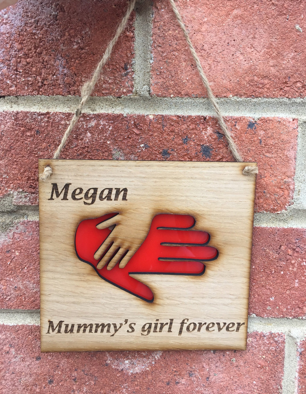 Oak veneer personalised hands plaque - Laser LLama Designs Ltd