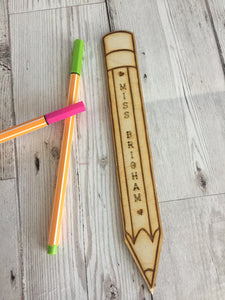Wooden Personalised pencil shape bookmark - Laser LLama Designs Ltd