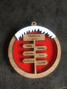 Oak veneer sign post bauble with acrylic icing - Laser LLama Designs Ltd