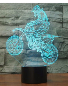 LED light up 3D  motor cross bike  display. 9 Colour options with remote! - Laser LLama Designs Ltd