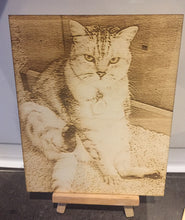 Load image into Gallery viewer, Your photo Laser engraved onto Birch plywood - various sizes- Stand included - Laser LLama Designs Ltd