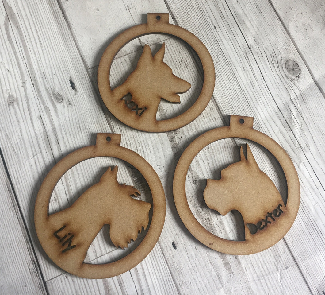 Dog breed mdf   bauble - Laser LLama Designs Ltd