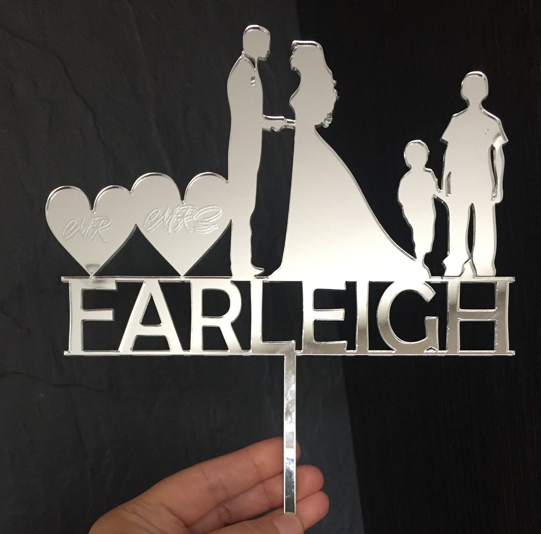 Mirrored acrylic personalised wedding/birthday cake topper - Laser LLama Designs Ltd