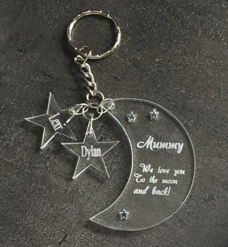 "Acrylic or oak veneer personalised keyring moon shape ""love you To the moon and back"" - Laser LLama Designs Ltd"