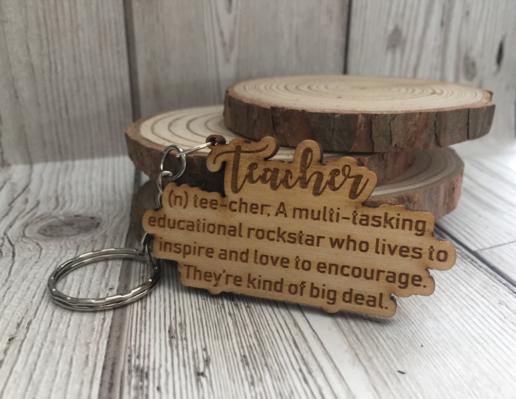 Wooden teacher meaning  keyring - Laser LLama Designs Ltd