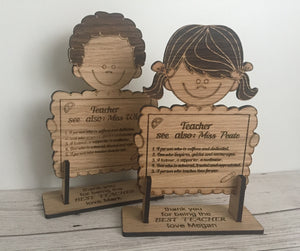 Oak veneer personalised freestanding girl/boy holding board - Laser LLama Designs Ltd