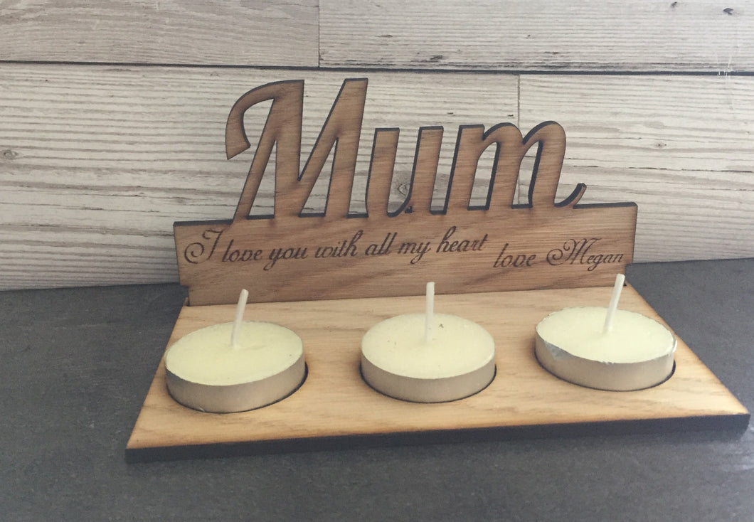 Freestanding wooden personalised candle holder - Laser LLama Designs Ltd