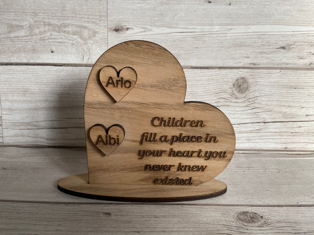Oak veneer freestanding personalised heart shape - Laser LLama Designs Ltd