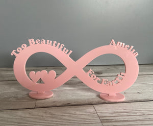 Personalised infinity stand too beautiful for Earth - Laser LLama Designs Ltd
