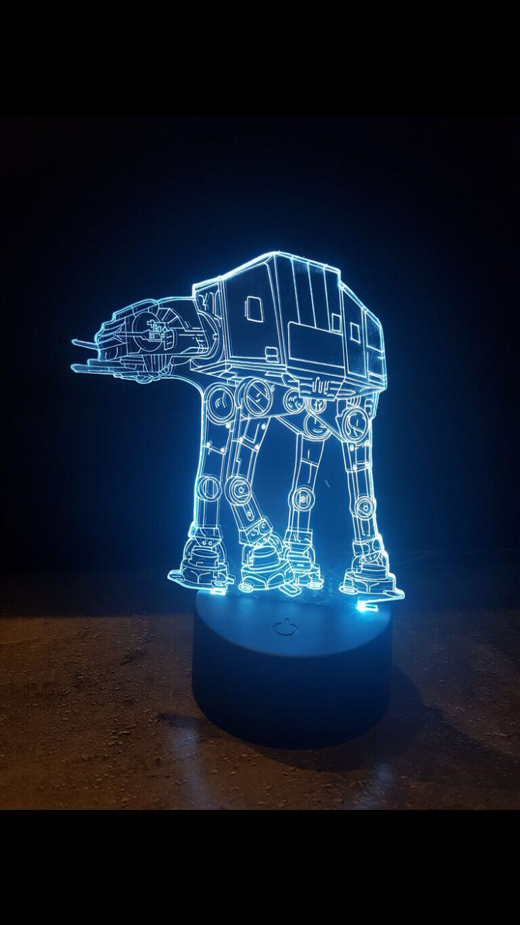 LED light up 3D  at at star wars  display. 9 Colour options with remote! - Laser LLama Designs Ltd