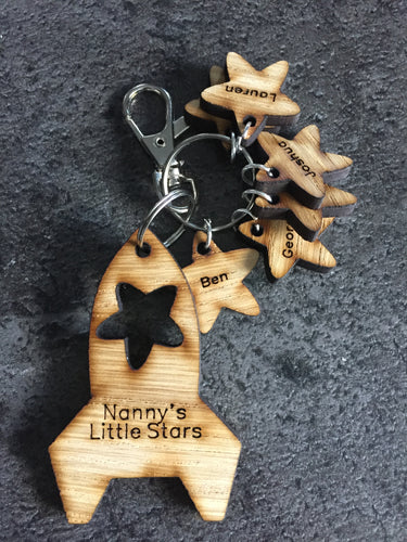 Oak Veneer Persoanlised keyring rocket shape with stars - Laser LLama Designs Ltd