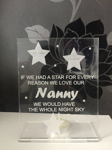 Freestanding acrylic personalised candle holder - Laser LLama Designs Ltd