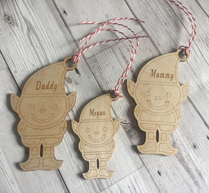 Personalised wooden  elf family decoration - Laser LLama Designs Ltd