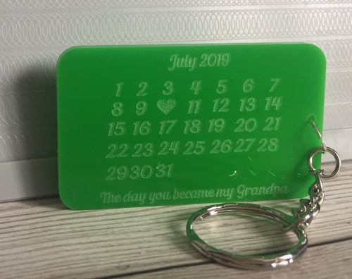 Acrylic personalised became a grandpa keyring - Laser LLama Designs Ltd
