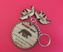 Load image into Gallery viewer, Oak veneer personalised keyring bear circles - Laser LLama Designs Ltd