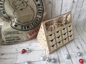 Wooden Christmas advent calendar with santa and snowman on top, 24 individually numbered drawers - Laser LLama Designs Ltd