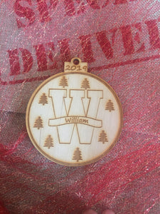 Wooden Christmas tree  bauble initial - Laser LLama Designs Ltd
