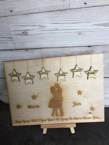 Personalised Love Story plaque - Laser LLama Designs Ltd