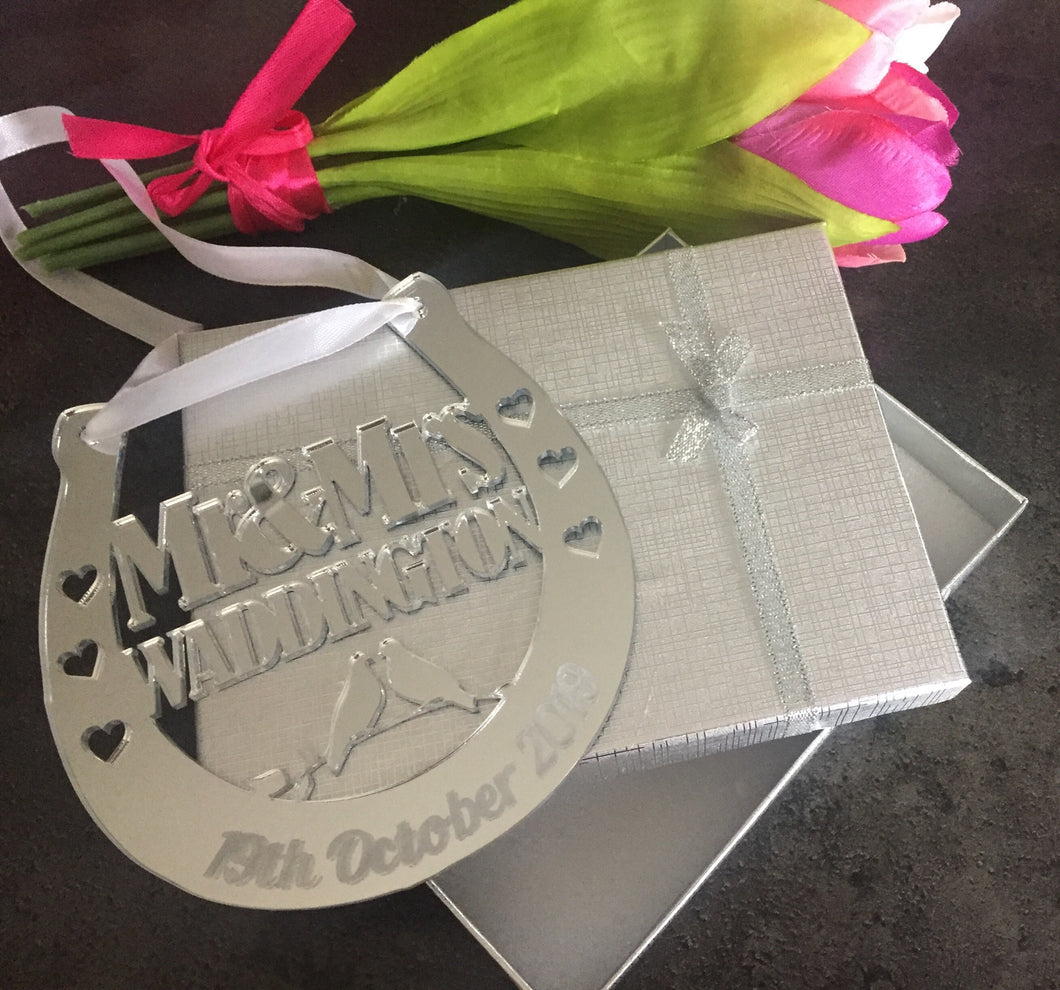 Mirrored acrylic personalised wedding horseshoe - Laser LLama Designs Ltd