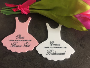 Acrylic personalised Tutu dress weddding thank you gift - Laser LLama Designs Ltd