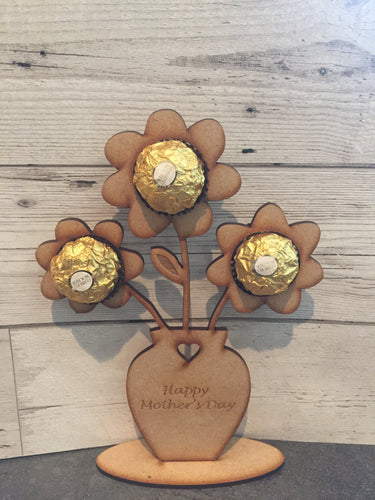 Wooden Flower holder for ferrero rocher mum nanny Mdf - Laser LLama Designs Ltd