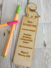 Load image into Gallery viewer, Personalised wooden Dinosaur bookmark - Laser LLama Designs Ltd