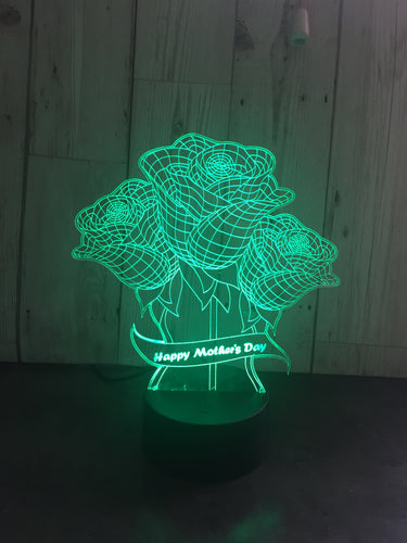 LED light up 3D roses mum, mothers day  display. 9 Colour options with remote! - Laser LLama Designs Ltd