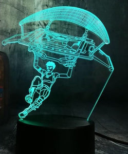 LED light up Fortnite Paratrooper display. 9 Colour options with remote! - Laser LLama Designs Ltd