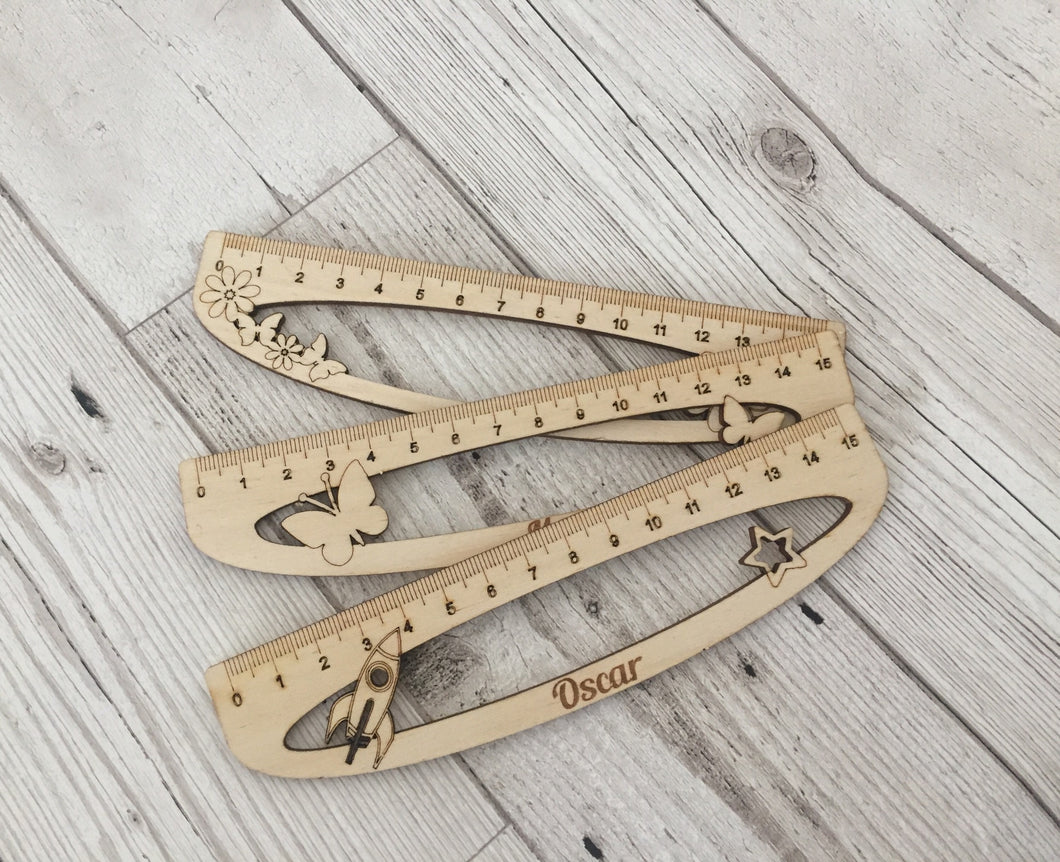 Personalised wooden ruler 3 designs - Laser LLama Designs Ltd