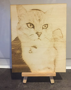 Your photo Laser engraved onto Birch plywood - various sizes- Stand included - Laser LLama Designs Ltd