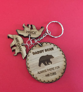 Oak veneer personalised keyring bear circles - Laser LLama Designs Ltd