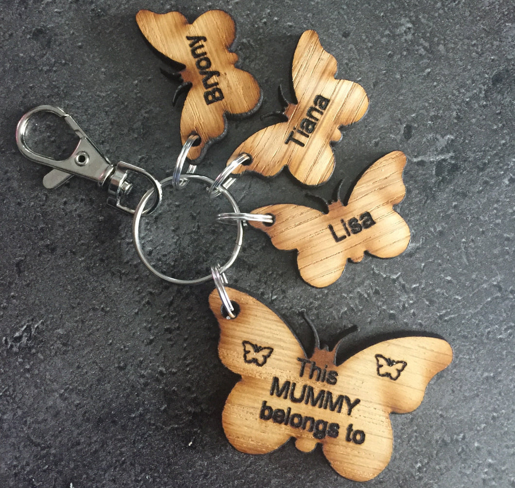 Oak veneer personalised keyring - Laser LLama Designs Ltd