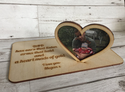 Wooden plaque with freestanding photo frame heart - Laser LLama Designs Ltd