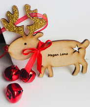 Load image into Gallery viewer, Personalised Reindeer Rudolph Christmas Tree Decoration - Laser LLama Designs Ltd