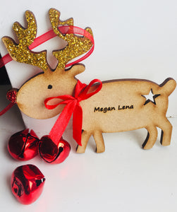 Personalised Reindeer Rudolph Christmas Tree Decoration - Laser LLama Designs Ltd
