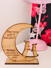 Load image into Gallery viewer, How long will i love you... personalised moon & star decoration - Laser LLama Designs Ltd