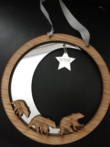 Personalised moon & star wall decoration - Laser LLama Designs Ltd