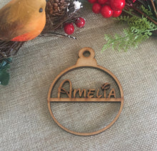 Load image into Gallery viewer, Personalised  wooden mdf  bauble - Laser LLama Designs Ltd