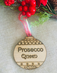 Oak veneer Alcohol Christmas  bauble -oak veneer - Laser LLama Designs Ltd