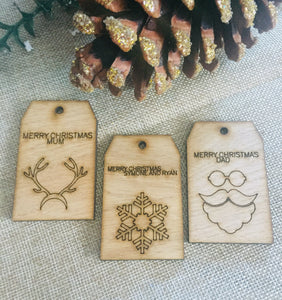 Oak veneer christmas gift tags - Laser LLama Designs Ltd