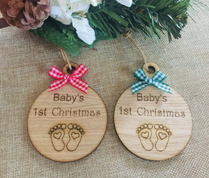 Baby's 1st christmas bauble oak veneer - Laser LLama Designs Ltd